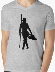 Rey Silhoutte (Black) Mens V-Neck T-Shirt