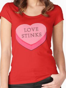 LOVE STINKS Fun Anti Valentine Women's Fitted Scoop T-Shirt