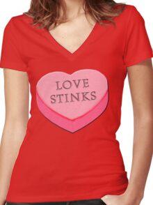 LOVE STINKS Fun Anti Valentine Women's Fitted V-Neck T-Shirt