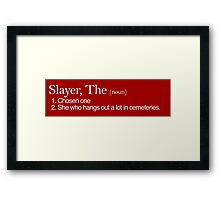 Slayer, The Definition (white type) Framed Print