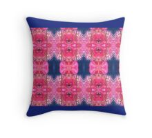 Pink flowers and navy blue pattern Throw Pillow