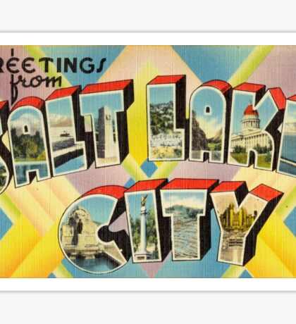 Vintage Colorful Greetings From Salt Lake City Sticker