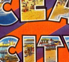 Vintage Colorful Greetings From Ocean City Sticker