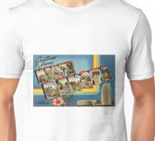 Vintage Colorful Greetings From North Dakota Unisex T-Shirt