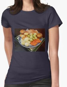 Roast Chicken with Vegetables Womens Fitted T-Shirt
