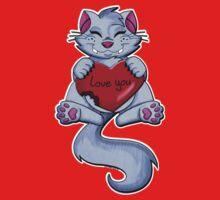 Valentine Cat One Piece - Short Sleeve