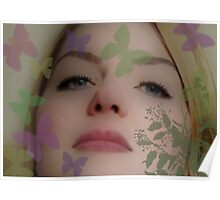 pretty girl with butterflies Poster
