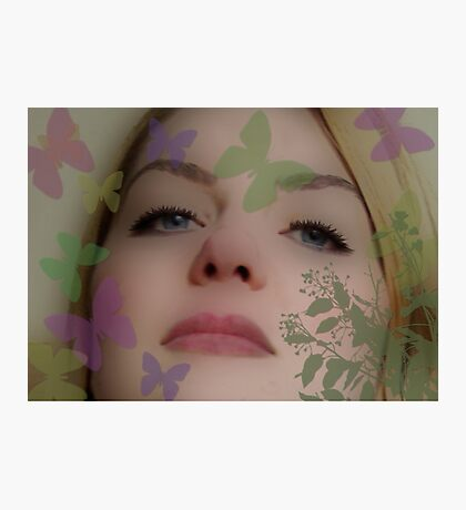 pretty girl with butterflies Photographic Print