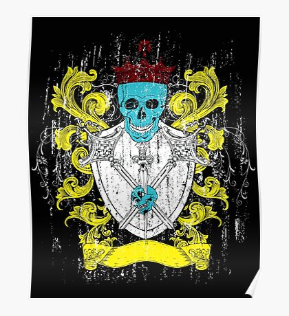 Blue Skull Coat of Arms Poster