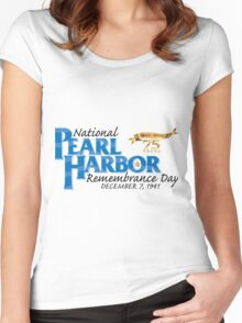 Pearl Harbor Remembrance Day 75th Anniversary Logo Women's Fitted Scoop T-Shirt
