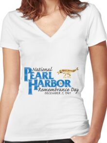 Pearl Harbor Remembrance Day 75th Anniversary Logo Women's Fitted V-Neck T-Shirt