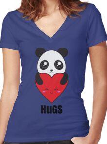 Panda Hugs Women's Fitted V-Neck T-Shirt