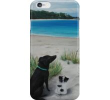 Dogs resting on beach iPhone Case/Skin