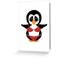 Beach Penguin in Floral Swimsuit Greeting Card