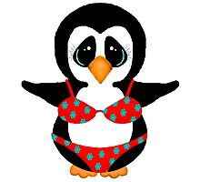 Beach Penguin in Floral Swimsuit Photographic Print