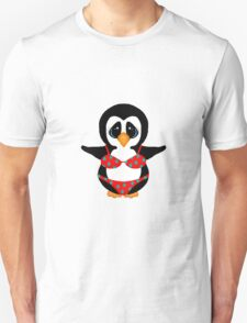 Beach Penguin in Floral Swimsuit T-Shirt