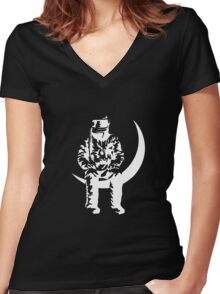 LOVE MOON MAN Women's Fitted V-Neck T-Shirt