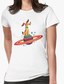 Cute Vintage Space Dog Womens Fitted T-Shirt
