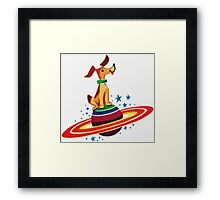 Cute Vintage Space Dog Framed Print