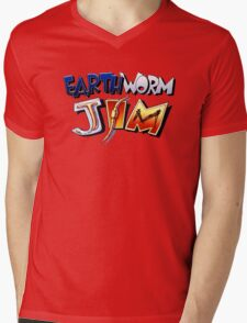 Earthworm Jim Logo Mens V-Neck T-Shirt