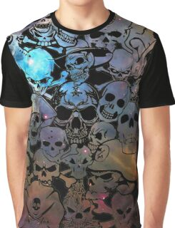Skull Galaxy Collage Graphic T-Shirt