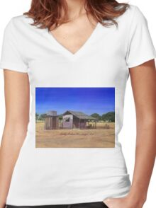 """""""Old Meathouse, Spring Valley Station, near Petford"""" Women's Fitted V-Neck T-Shirt"""