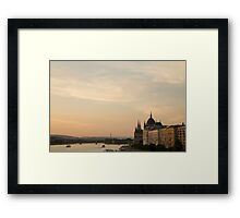 Sun sets over Budapest Framed Print