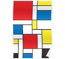 Geometric Grids and Boxes in Bold Colors (Mondrian Style) Poster