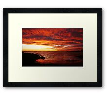 Red Sky at Night, Elwood Beach Framed Print