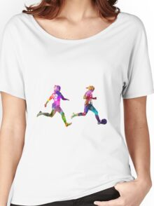 Girls playing soccer football player silhouette Women's Relaxed Fit T-Shirt