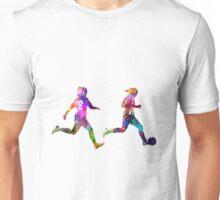 Girls playing soccer football player silhouette Unisex T-Shirt