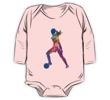 Girl playing soccer football player silhouette One Piece - Long Sleeve