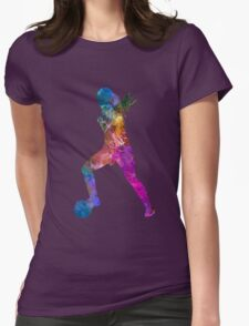 Girl playing soccer football player silhouette Womens Fitted T-Shirt