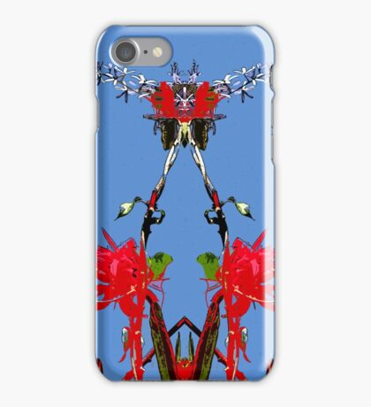 Red flowers, blue sky, mirror iPhone Case/Skin