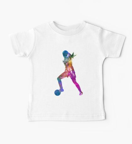 Girl playing soccer football player silhouette Baby Tee