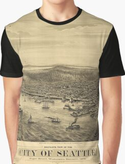 City of Seattle Puget Sound Washington Map (1878) Graphic T-Shirt