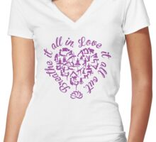 Yoga Poses Heart  Women's Fitted V-Neck T-Shirt