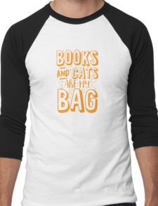 BOOKS AND CATS are my BAG Men's Baseball ¾ T-Shirt
