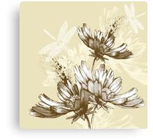 Classic hand painted flowers Canvas Print