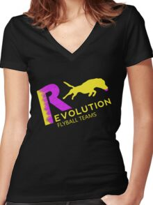 Revolution,flyball pink n yellow Women's Fitted V-Neck T-Shirt