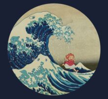 Ponyo and The Great Wave off Kanagawa VINTAGE Kids Tee
