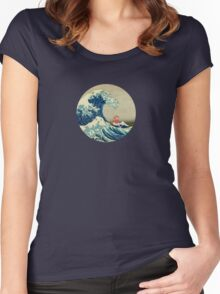 Ponyo and The Great Wave off Kanagawa VINTAGE Women's Fitted Scoop T-Shirt