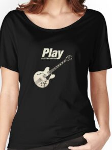 Play Electric Guitar (White) Women's Relaxed Fit T-Shirt