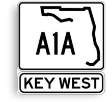 A1A - Key West, The Conch Republic Canvas Print