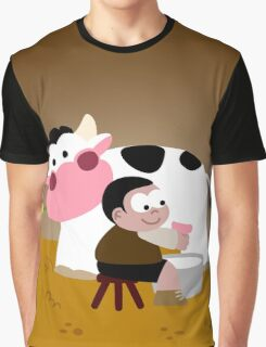 Milking Boy Graphic T-Shirt