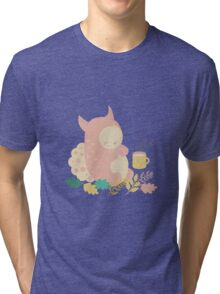 Monster and mug of tea in autumn forest Tri-blend T-Shirt