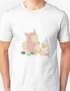 Monster and mug of tea in autumn forest Unisex T-Shirt
