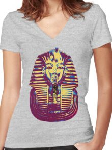 5- Colored King Tut Mask Women's Fitted V-Neck T-Shirt