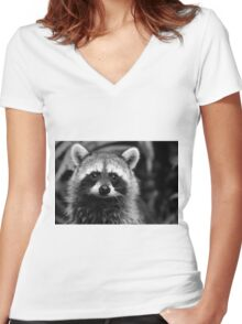 Racoon Women's Fitted V-Neck T-Shirt