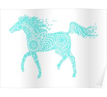 doodle horse in blue Poster